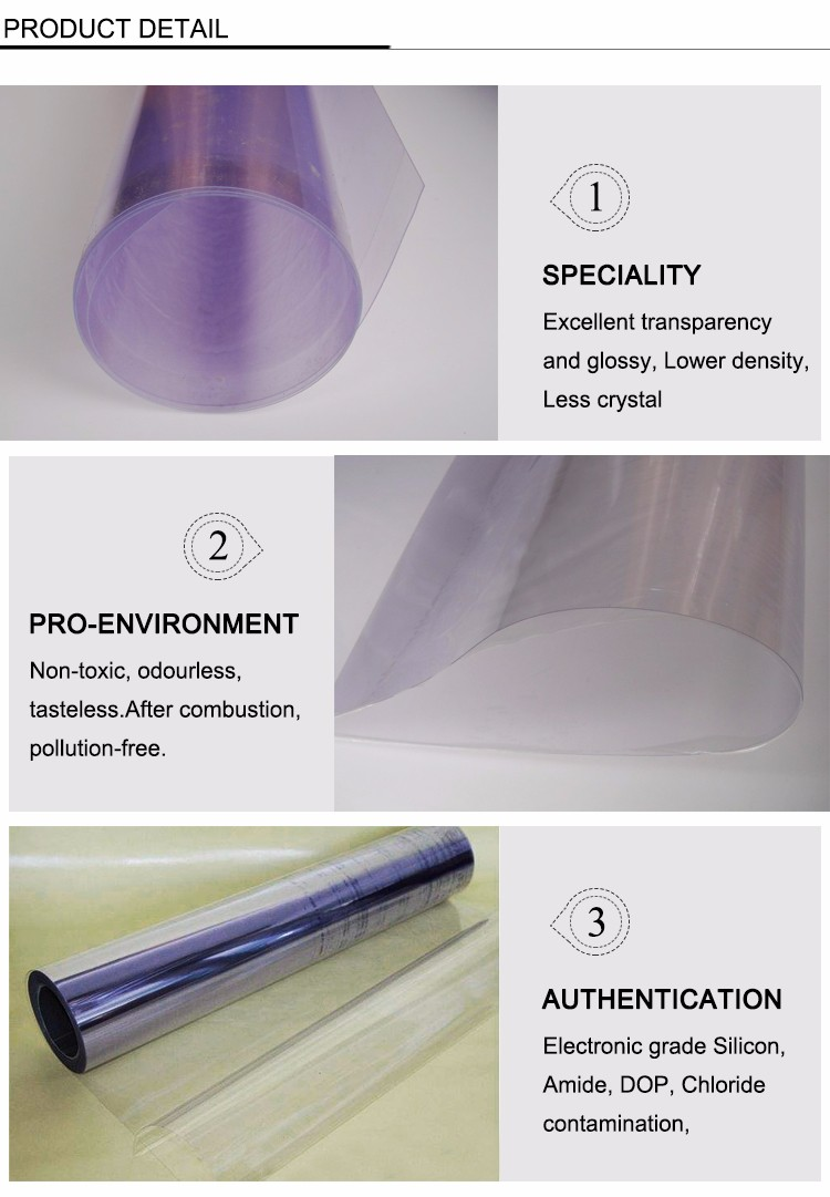 clear Transparent PVC film in Plastic
