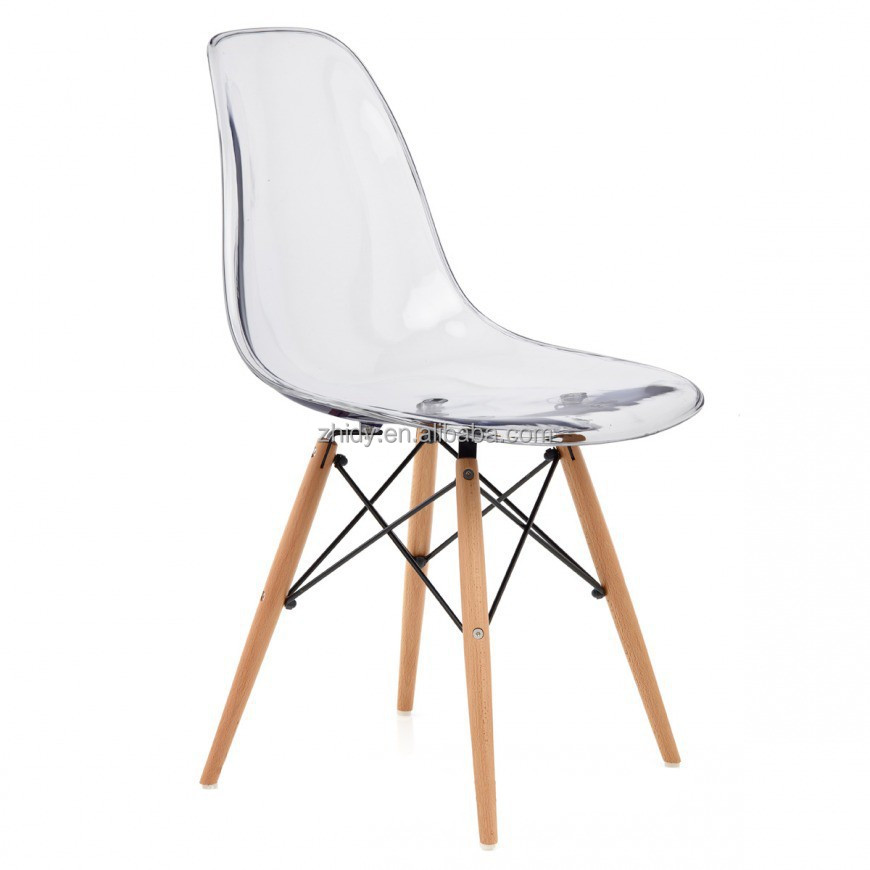 Clear acrylic dinng chair with wood leg buy acrylic for Chaise fauteuil eames