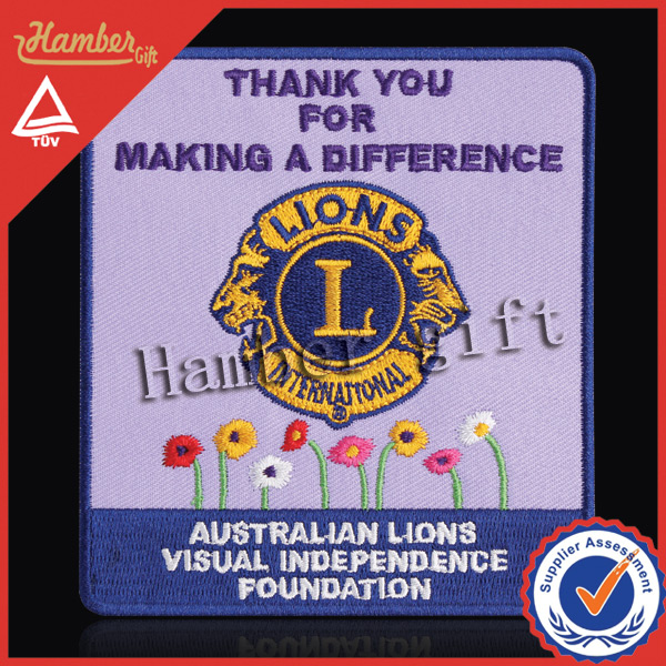 Customized square lion embroidery designs for decoration