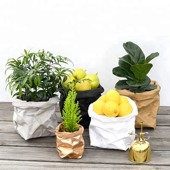 Decorative Indoor Weatherproof Flower Pots, Outdoor Garden Plants Grow Bags Washable Kraft Paper storage bag