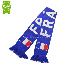 100% acrylic knitted scarf jacquard France national flag acrylic scarf football scarf