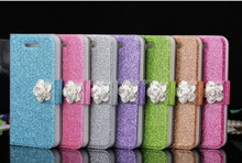 Wholesale - For iphone5 Luxury Wallet Rhinestone Diamond Camellia Flip Leather case For iPhone 5 5G 5S