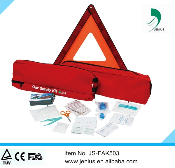 Auto Automobile emergency car accident first aid kits with wanrning traingle