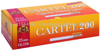 Cigarette filtered tubes CARTEL 200 with 25 mm long filter