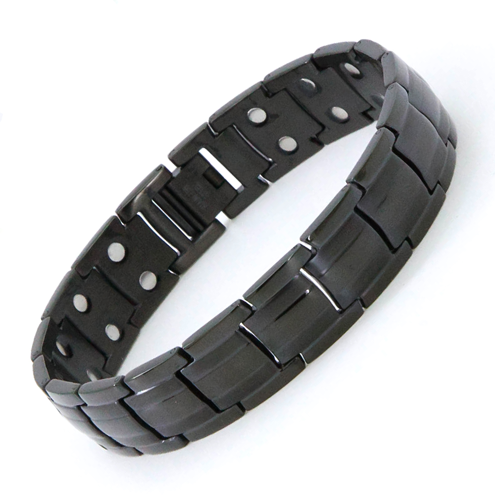 15mm Width mens elegant stainless steel titanium black magnetic therapy bracelet magnetic