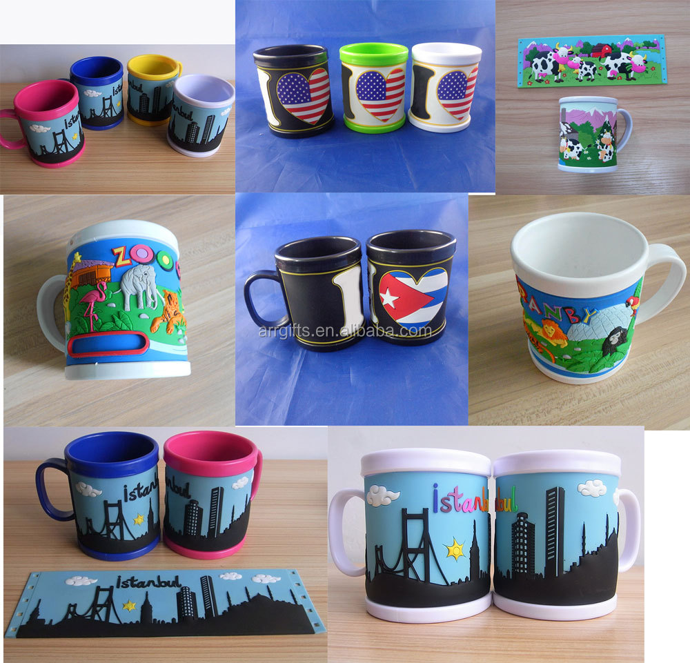 factory custom eco-friendly rubber coated plastic 3d mug cup