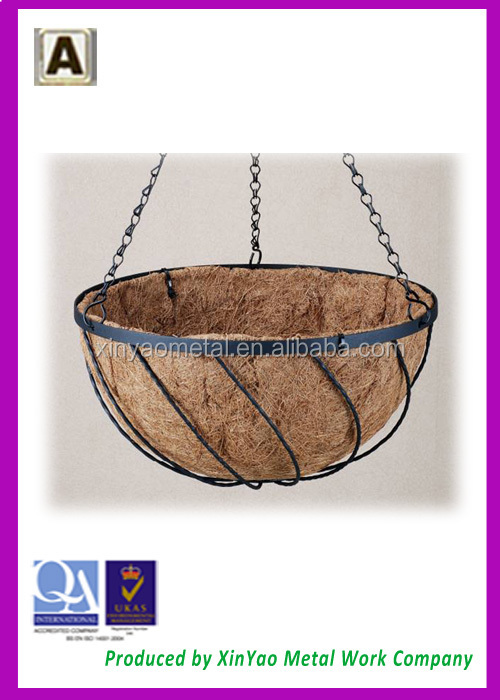 Garden plant hanging basket flat iron twill Georgian design hanging basket BH090024