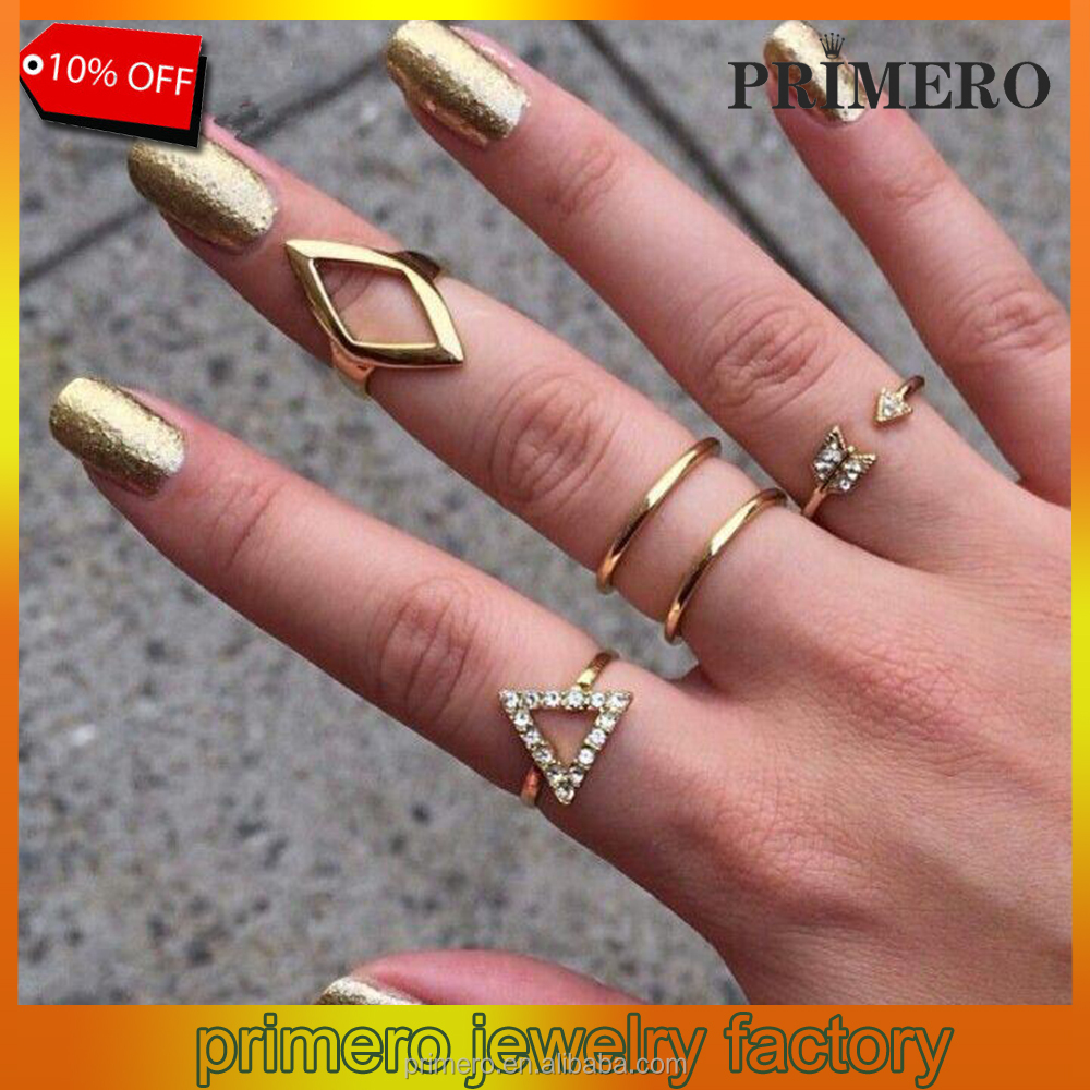 High Quality Vintage Punk style Gold Plated Crystal Geometric Triangle Mid Finger Ring 5pcs/Set Wholesale