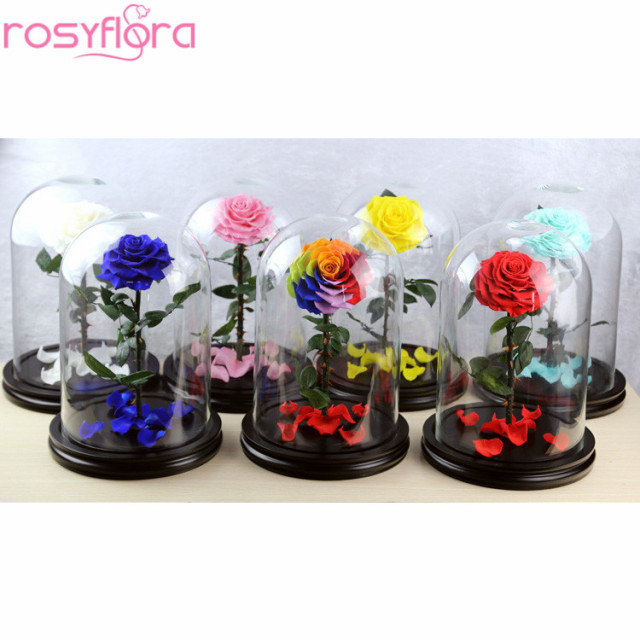 Mass supplying Christmas gift preserved rose in glass dome