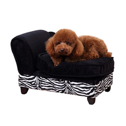 PawHut Black Zebra-stripe Fabric Pet Sofa Cat Bed