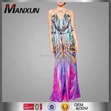 Vestidos Elegantes 2016 Sleeveless Chiffon Vestidos Bohemios Floral Print New Design Maxi Dresses For Women