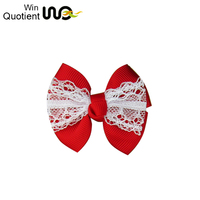 Low price polyester dots printed fancy ribbon bows for garment/bra