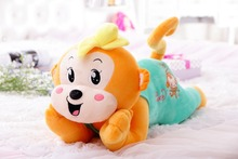 60/75/85cm lovely New design customized brown plush lying monkey animal doll toy with plush banana hat&cartoon face(blue)