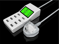 High speed LED 8-Port Home Wall Charger Adaptor with LCD Screen Display AC To USB power socket Station For Mobile phone tablet