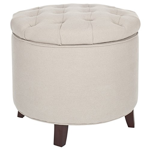 Amelia Tufted Storage Ottoman, White/Grey