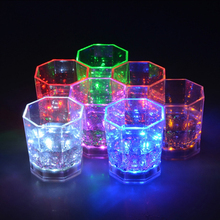 Wholesale Colorful Flashing Led Light Glass Cup with CR2025 Button Battery 2 For Bar
