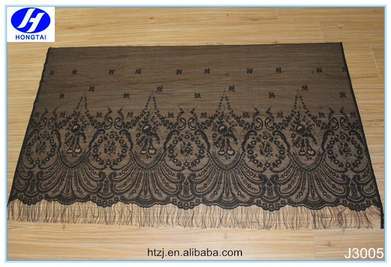2017 Hot new design black eyelash net lace fabric /tulle lace fabric for dress made in china