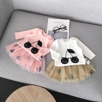 2018 High quality baby girl trendy clothing matching tulle skirt and shirt suit