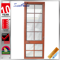 Australia AS2047 standard double glass wood color residential used aluminum casement windows with flynet