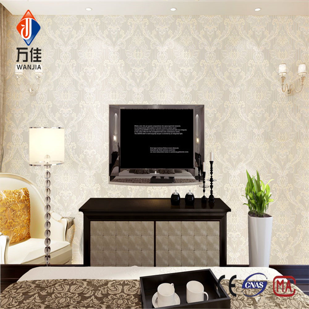 European style anti static printing removable white wallpaper