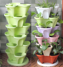 Stackable Stack Garden Planter Herb Flower Pots Indoor Outdoor