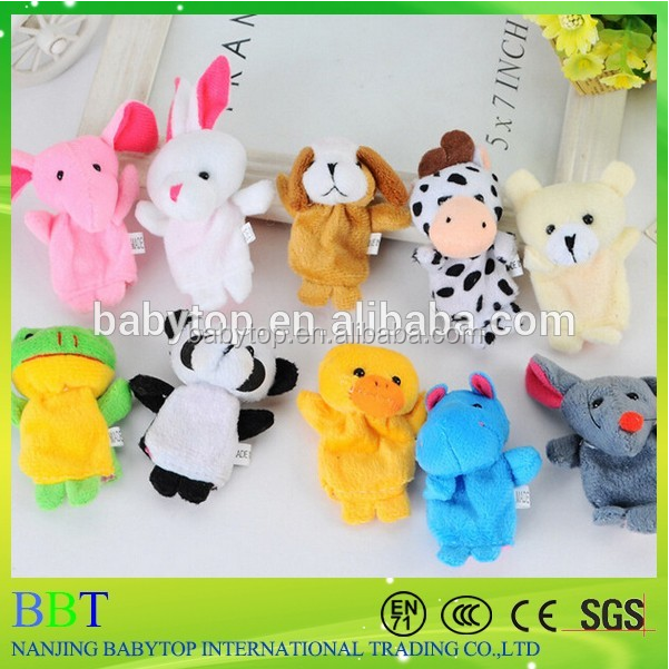 Customized new design animals puppet high quality baby plush toy finger puppets