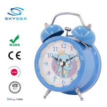 Metal real desk two bell ring alarm clock, Blue color bedside watch