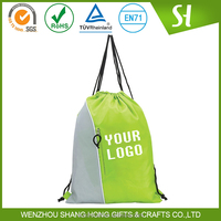 promotional nylon with cloth drawstring sports bag/drawstring garbage backpack bag with pocket