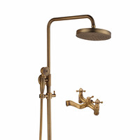 Antique Copper Bathroom Wall Mount Shower Head Shower Column Set