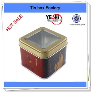 Metal Material and Tinplate Metal Type square the side window gift tin box
