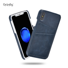 Blue Smart PU Leather Slim Fit Snap On Executive Wallet Card Case Cover For Apple iPhone X