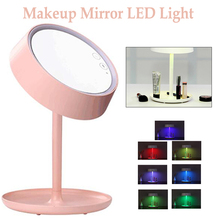 Beauty Cosmetics 2 in 1 Rechargeable Folding Table Lamp Ladies Makeup Mirror With LED Light