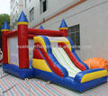 Mesh rounded iinflatable castle with slide