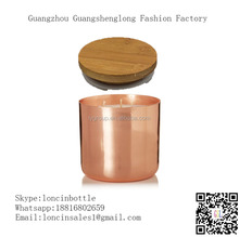 Natural Color Bamboo Lid for copper candle jar,Custom sliver stainless steel 13oz candle holder with engrave bamboo lid