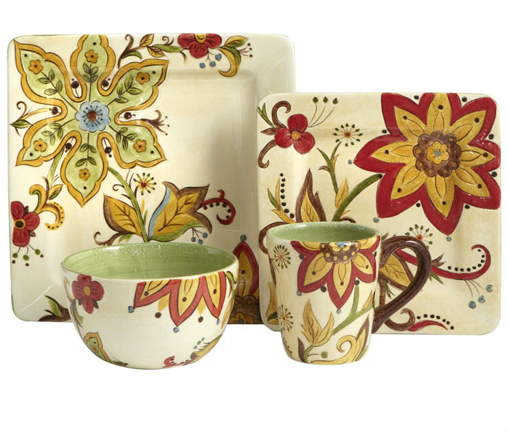 square durable earthenware dinnerware sets with beautiful hand-painting