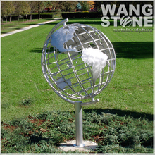 Garden Metal Decoration Stainless Steel Globe Map Sculpture