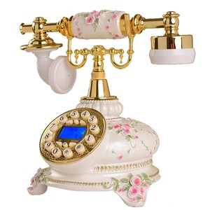Old style elegant corded phone antique telephone with caller id