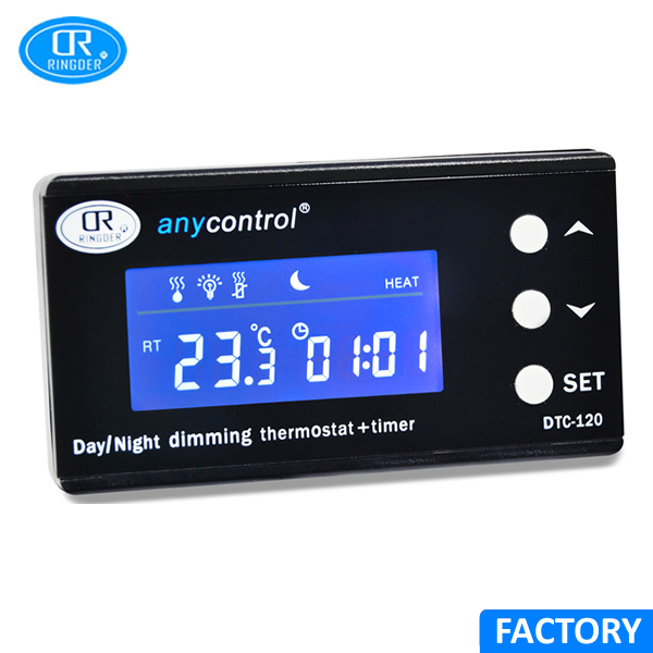 RINGDER DTC-120 230V 110V 0-50C Digital PID Reptile Dimming Thermostat with Electronic Timer