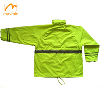 OEM factory Top quality Fashionable rain jacket and pants cheap durable clear polyester adult rainsuit