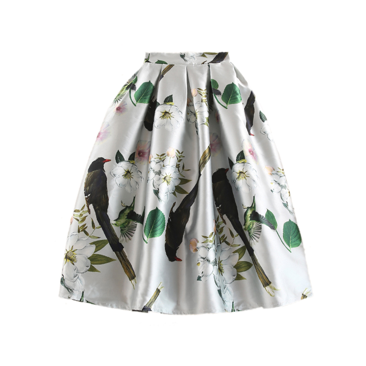 2017 New Elegant Women Vintage Retro Flower Floral Print High Waist Midi Skirt Jupe Female Clothes Flared Skirt