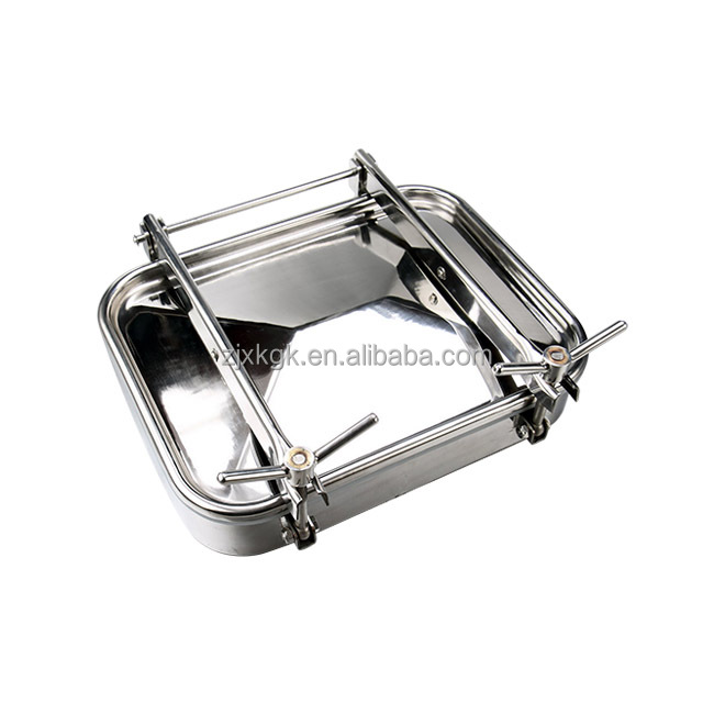 Factory direct hot sale stainless steel sanitary rectangle manhole cover for tanks with pressure
