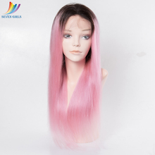 wholesale 1b/pink color mink peruvian glueless full lace wig