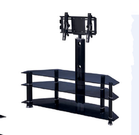 Black Tempered Glass and Iron TV Stand