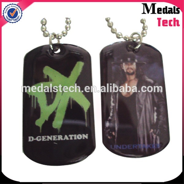 Stainless steel printed logo epoxy coated metal mens dog tag necklace