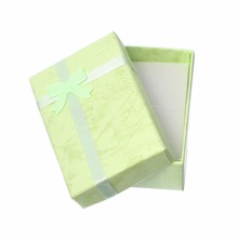 Custom Rectangle Bowknot Green Paper Jewelry Gift Boxes Cases For Ring Earring