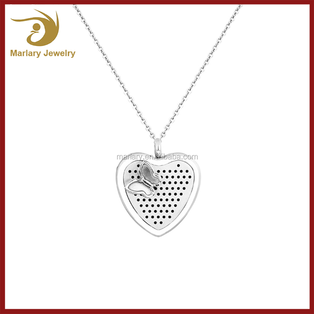 2016 Stainless Steel Butterfly Hollow Heart Aromatherapy Jewelry Essential Oil Necklace Diffuser Pendant