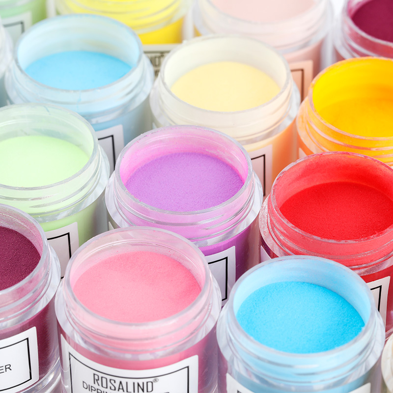 Rosalind custom private label 10g 34 colors nail dip acrylic powder system dipping powder nail powder for nails art salon