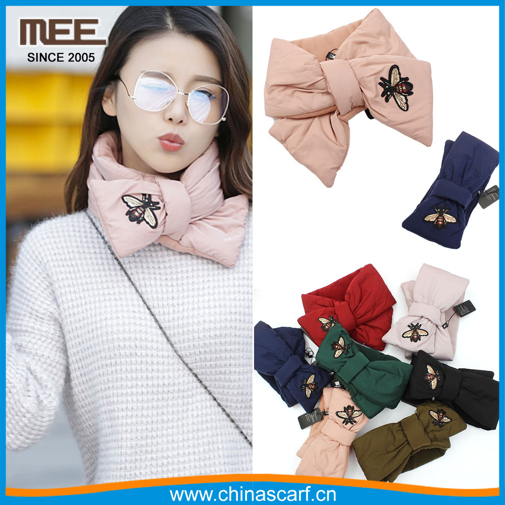 fashion women bowknot scarf bee mebroidered bow tie velvet scarf