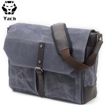 Classic Designer Brand Unisex Messenger Bag Vintage Waxed Canvas Leather Military Shoulder Laptop Bags