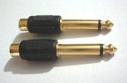 Gold Plated 6.35mm (1/4 Inch) Mono Plug to RCA Jack CONNECTOR